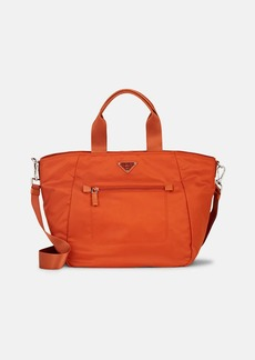 Prada Women's Leather-Trimmed Shopping Tote Bag-Papaya,