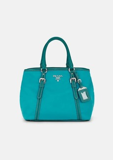 Prada Women's Leather-Trimmed Shoulder Bag-Turchese 1,Turquoise,