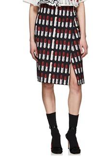 Prada Women's Lipstick-Print Cotton Canvas Foldover Skirt