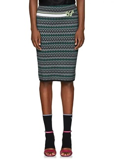 Prada Women's Logo Dot & Chevron-Pattern Pencil Skirt