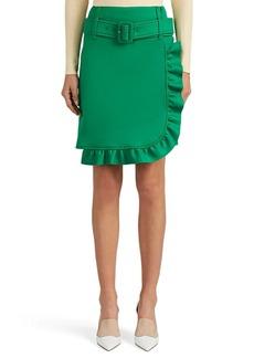 Prada Women's Logo Ruffle-Trimmed Belted Wrap Miniskirt