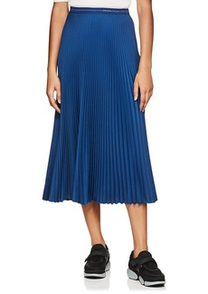 Prada Women's Logo-Waist Pleated Twill Midi-Skirt