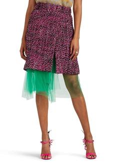 Prada Women's Logo Wool Tweed Wrap Skirt