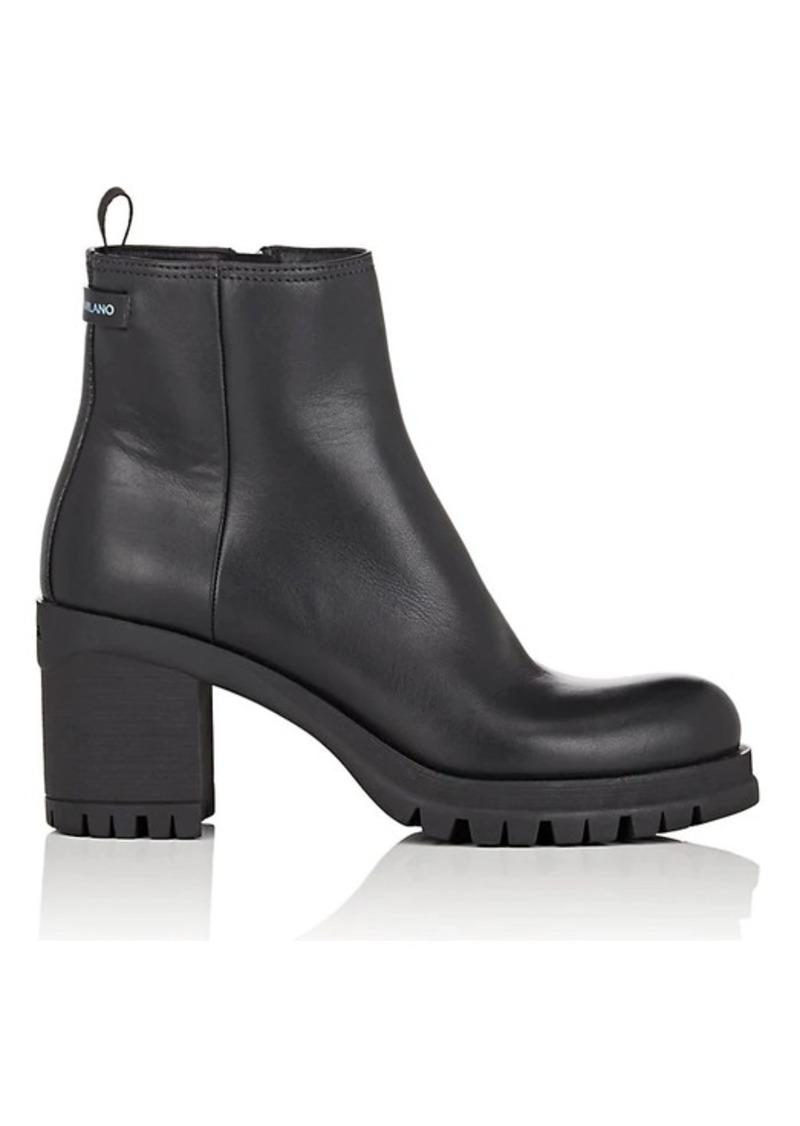 Prada Prada Women S Lug Sole Leather Ankle Boots Shoes