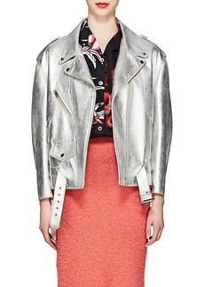 Prada Women's Metallic Leather Moto Jacket