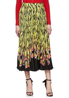 Prada Women's Pleated Banana- & Flame-Print Satin Skirt