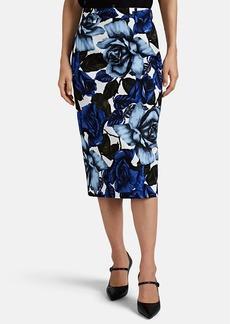 Prada Women's Rose-Print Cotton Pencil Skirt