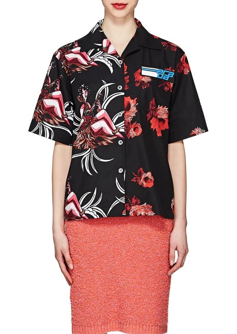 2075a57e65d4c Prada Prada Women s Rose-Print Cotton Poplin Blouse