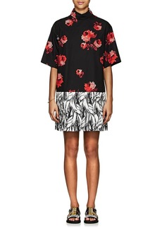 Prada Women's Rose-Print Cotton Shirtdress