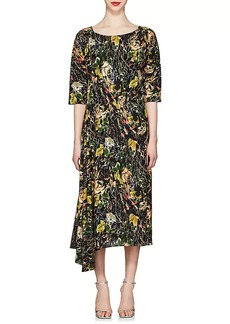 Prada Women's Rose-Print Silk Crepe Long Dress
