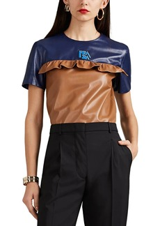 Prada Women's Ruffle Colorblocked Leather Top