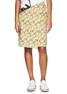 Prada Women's Square-Print Cotton Wrap-Front Skirt