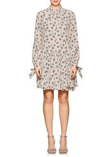 Prada Women's Striped & Floral Silk Drop-Waist Dress