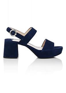 Prada Women's Suede Double-Band Platform Sandals