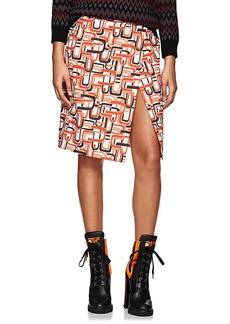 Prada Women's U-Print Cotton Wrap-Front Skirt
