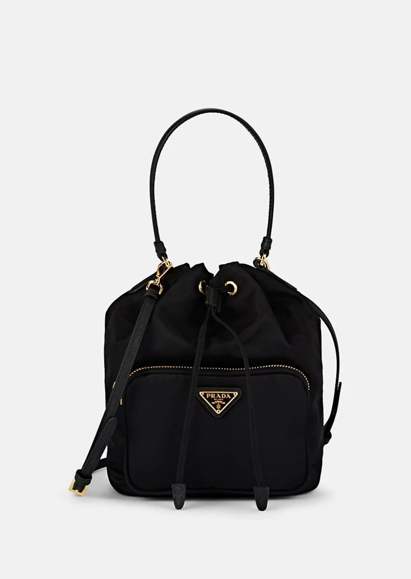 Prada Women's Vela Mini Leather-Trimmed Bucket Bag - Black