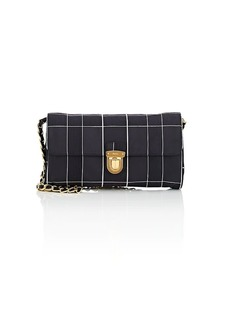 Prada Women's Windowpane-Plaid Satin Shoulder Bag - Black