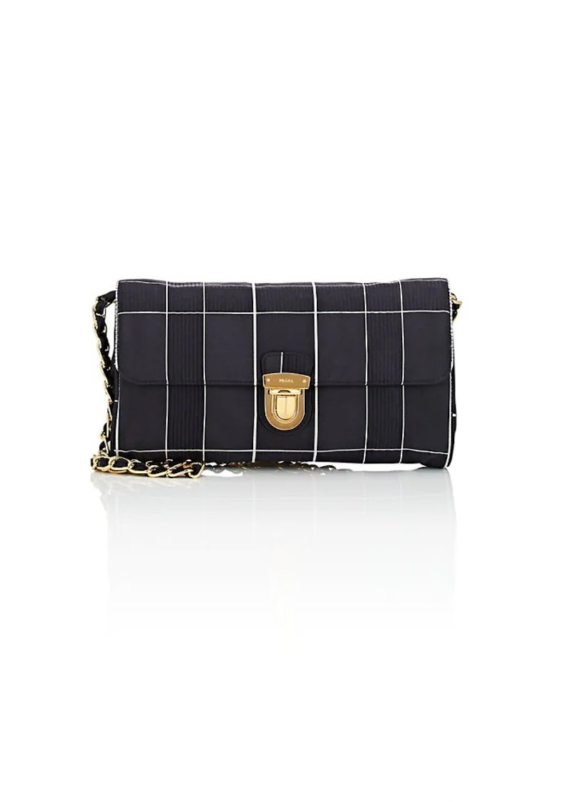 64948c7f293c Prada Prada Women s Windowpane-Plaid Satin Shoulder Bag - Black ...