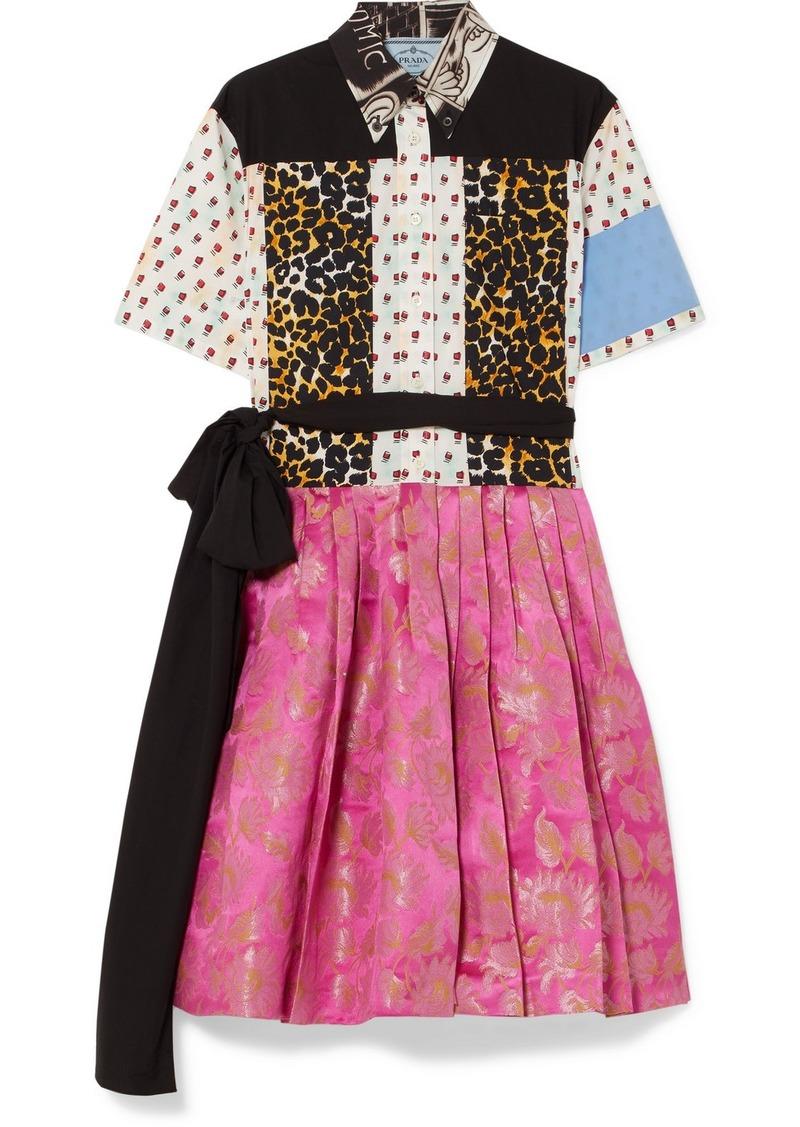 Prada Printed Cotton-poplin And Metallic Brocade Mini Dress