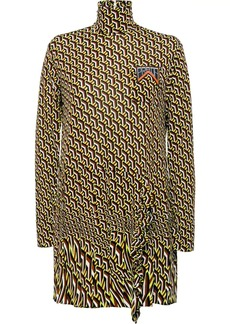 Prada printed jersey dress with ruching