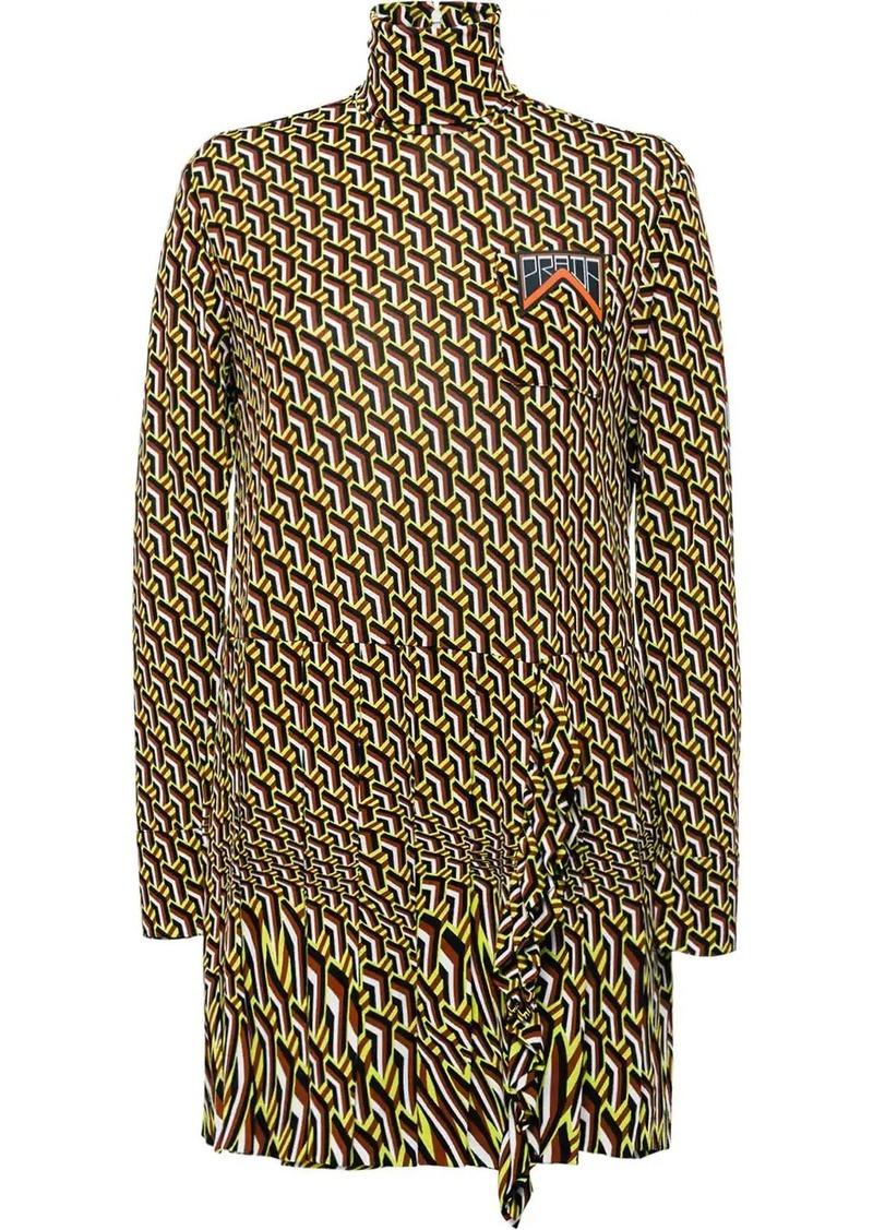 Prada printed jersey dress with ruching