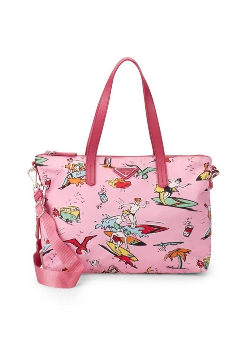 99d9b7c7b366 On Sale today! Prada Printed Nylon Tote Bag