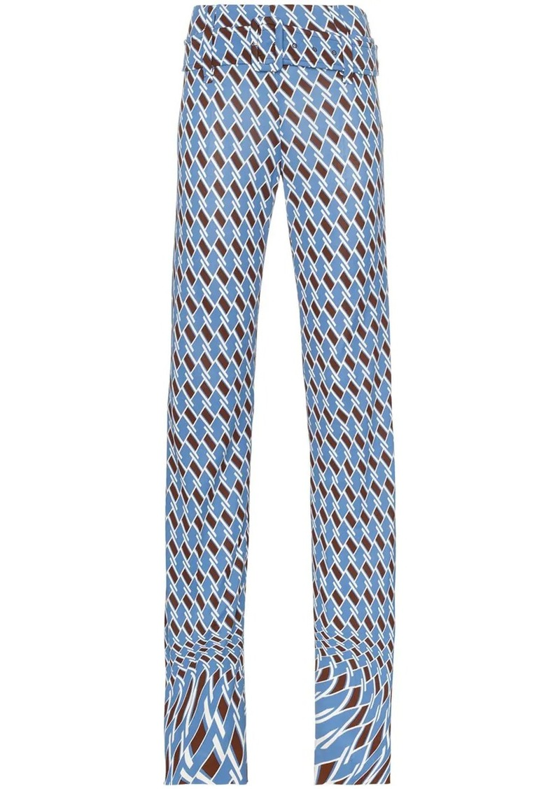 Prada Psychedelic Argyle print belted trousers