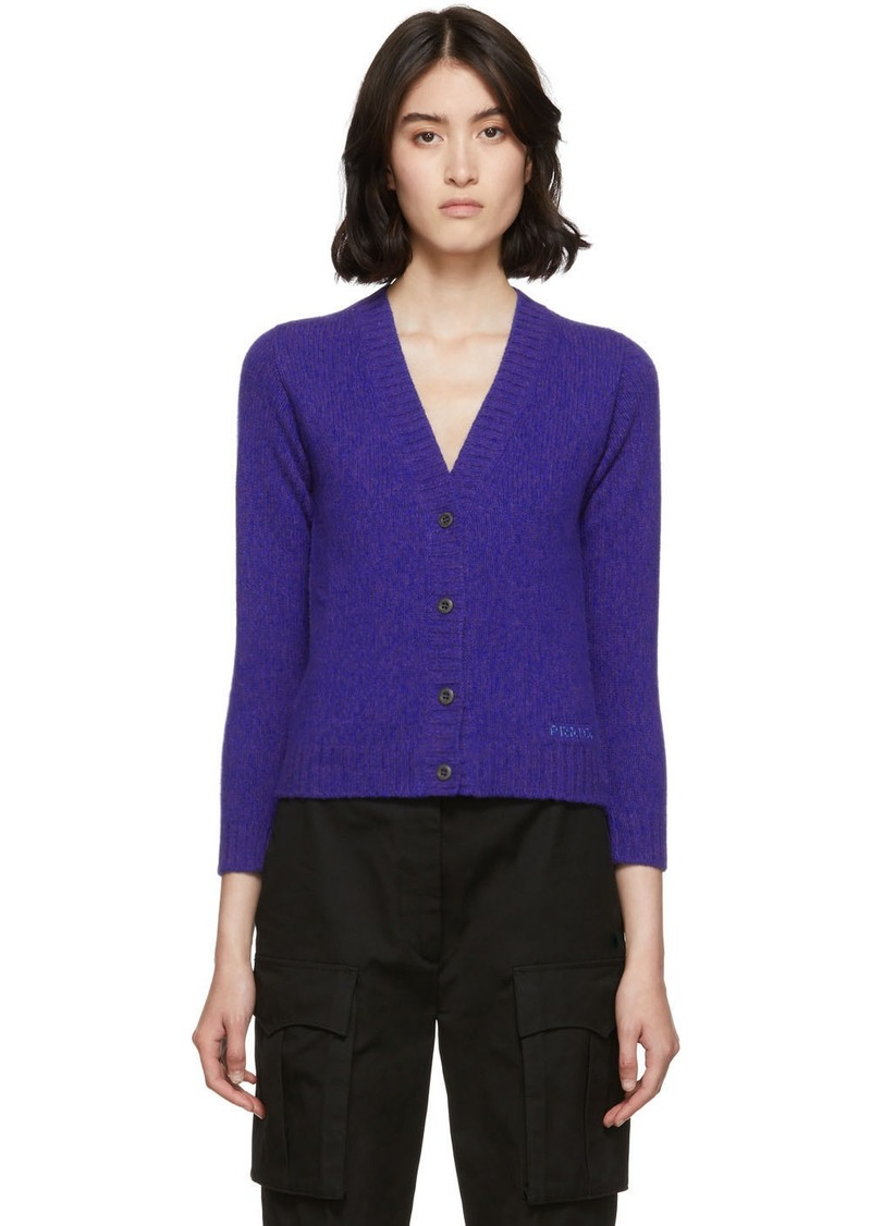 Prada Purple Wool Cropped Cardigan