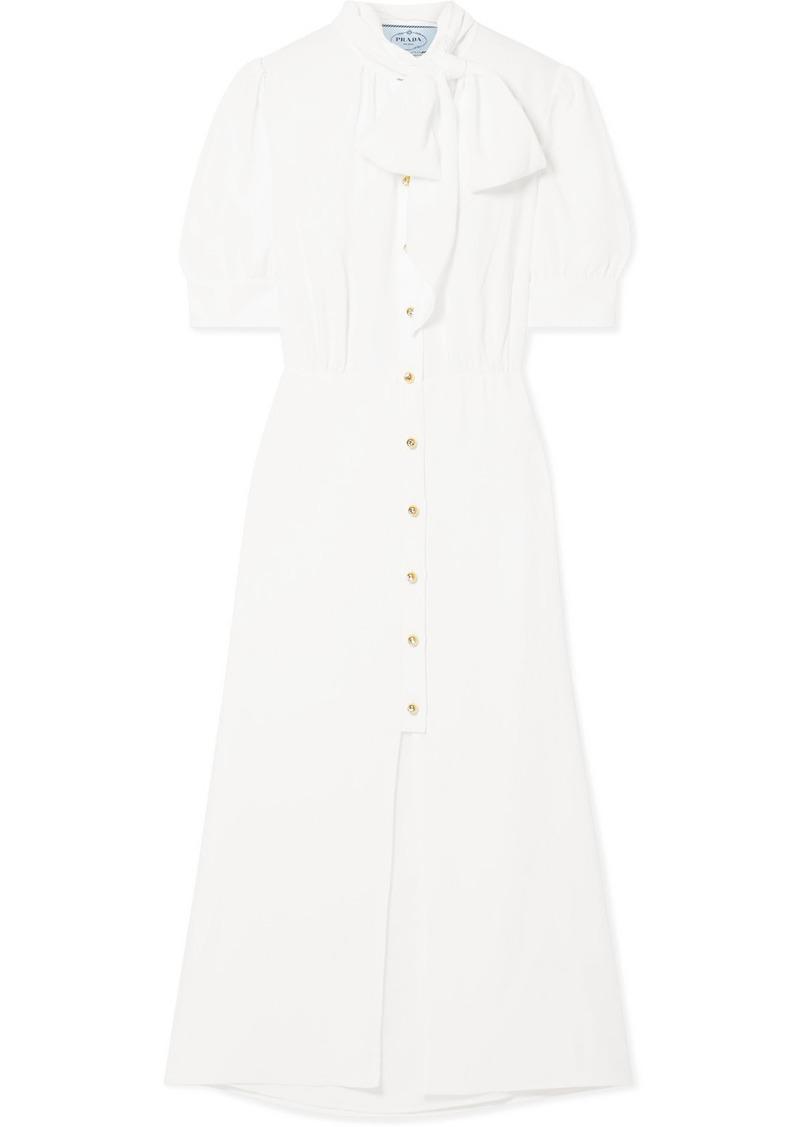 Prada Pussy-bow Crepe De Chine Midi Dress