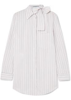 Prada Pussy-bow Striped Cotton-poplin Shirt