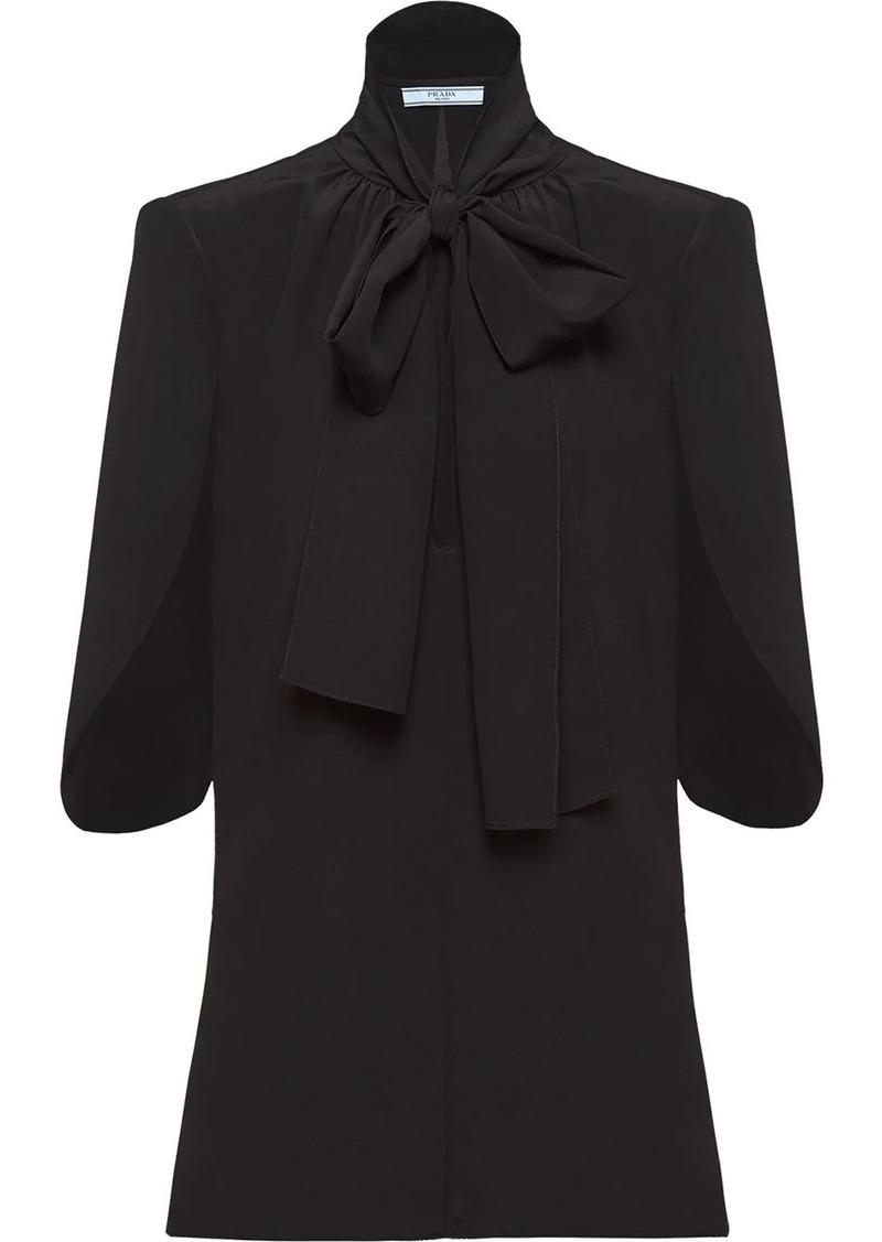 Prada pussybow half sleeves blouse