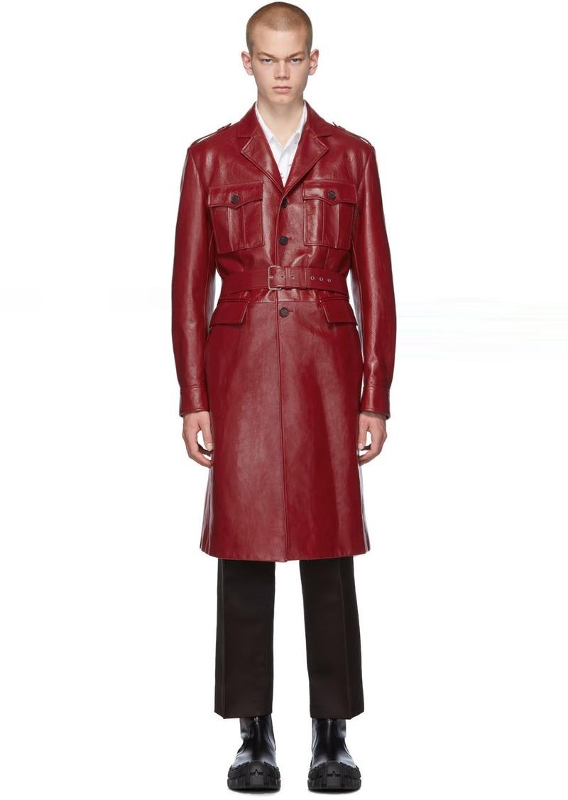Prada Red Leather Long Jacket