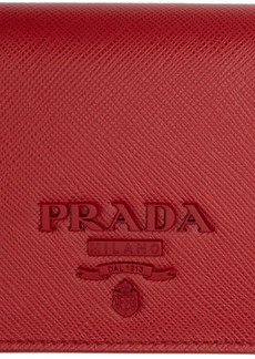 Prada Red Saffiano Logo Wallet