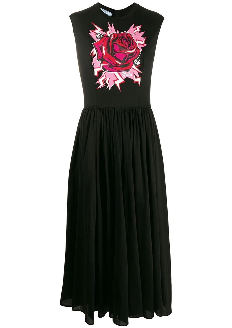 Prada rose print maxi dress