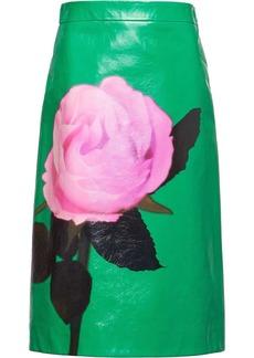 Prada rose print midi skirt