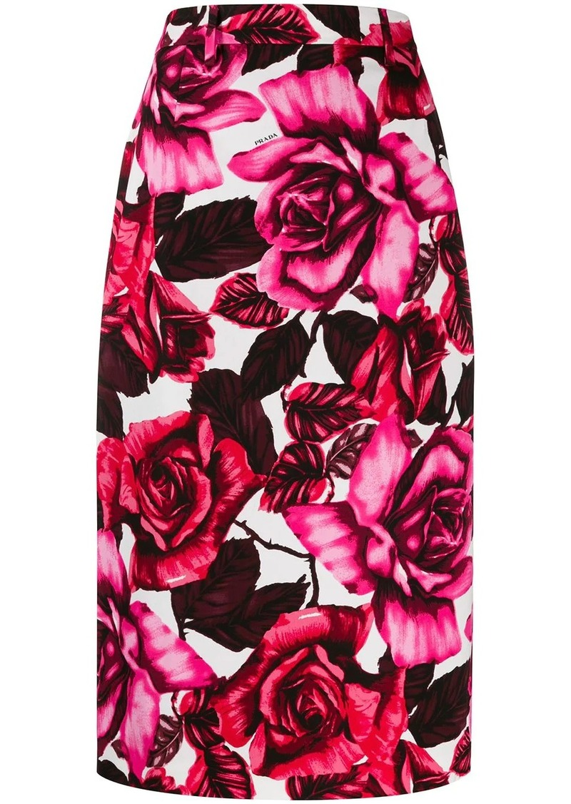 Prada rose print pencil skirt