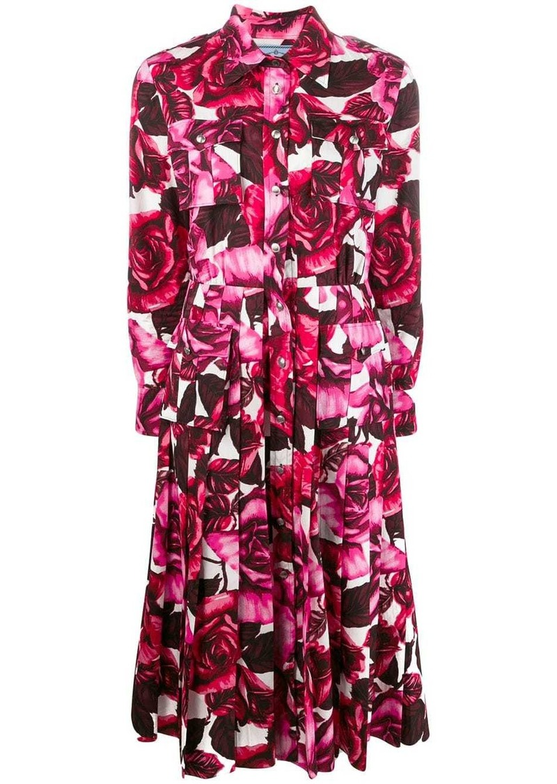 Prada rose print pleated dress