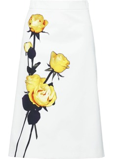 Prada rose print poplin skirt