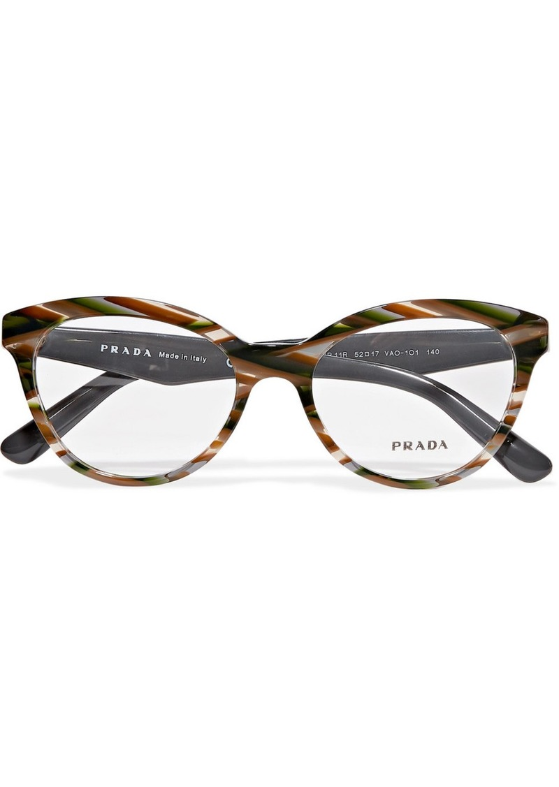 Prada Round-frame Marbled Acetate Optical Glasses