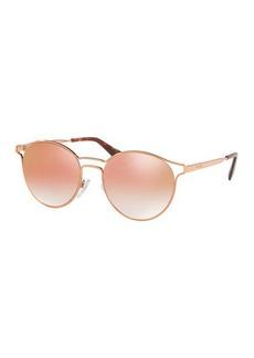 Prada Round Metal Open-Inset Mirrored Sunglasses