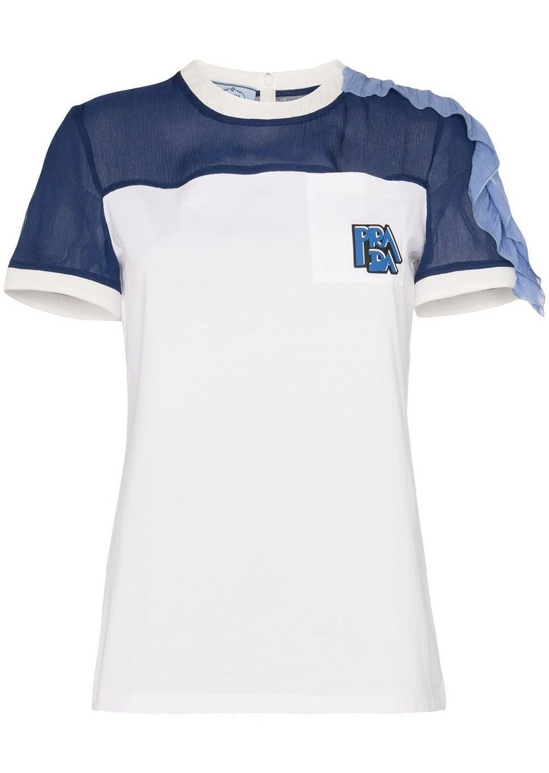 Prada ruffle detail crepe panel T-shirt