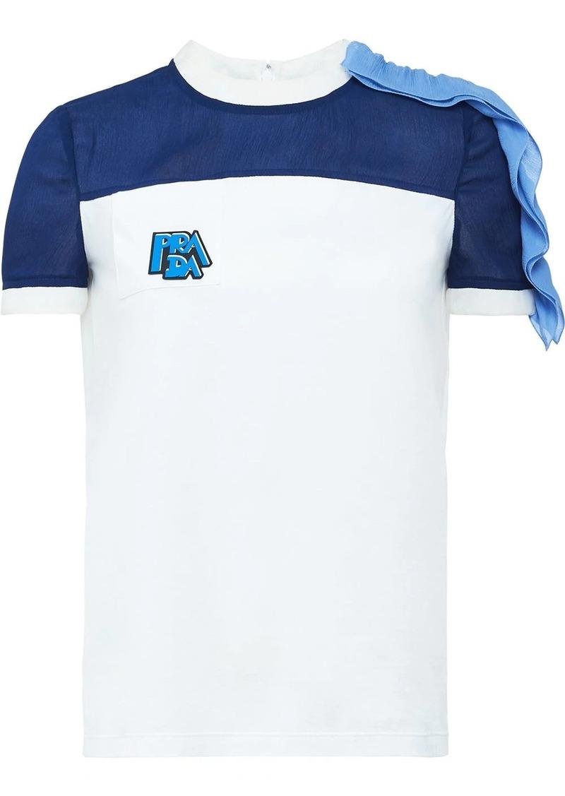 Prada ruffle detail T-shirt