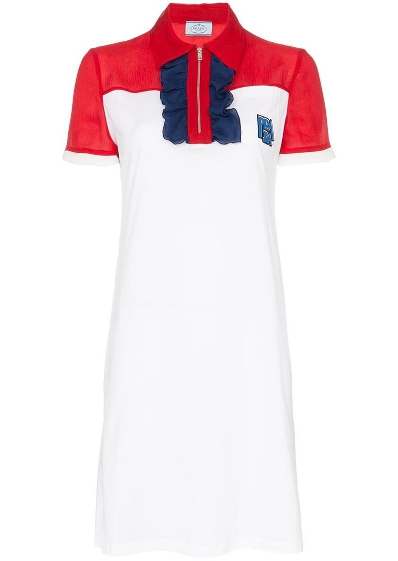Prada Ruffle front polo zip cotton-silk blend dress