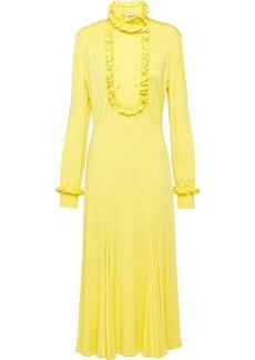 Prada ruffle-trim organzine midi-dress