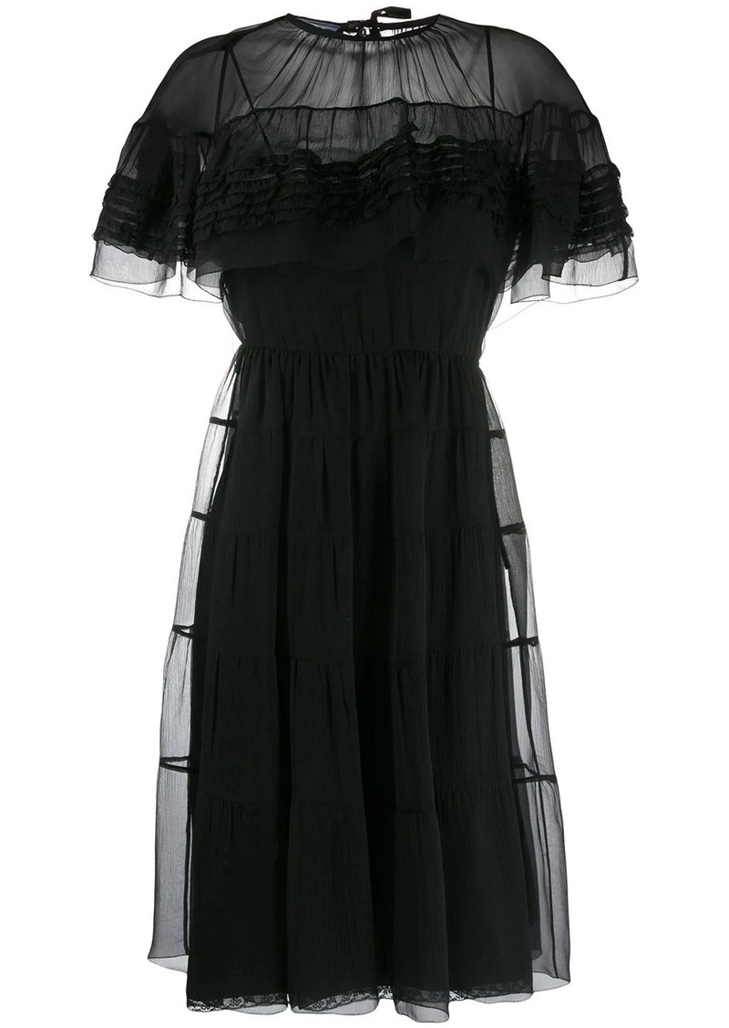 Prada ruffled flared midi dress