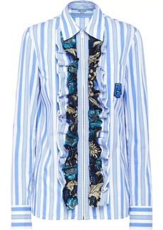 Prada ruffled striped shirt