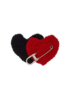 Prada safety pin hearts brooch