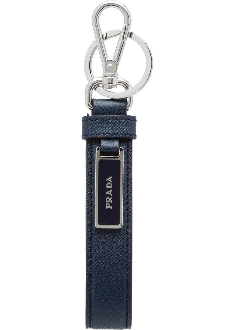 Prada Saffiano logo plaque keychain