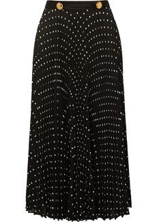 Prada Satin-trimmed Pleated Polka-dot Crepe Midi Skirt