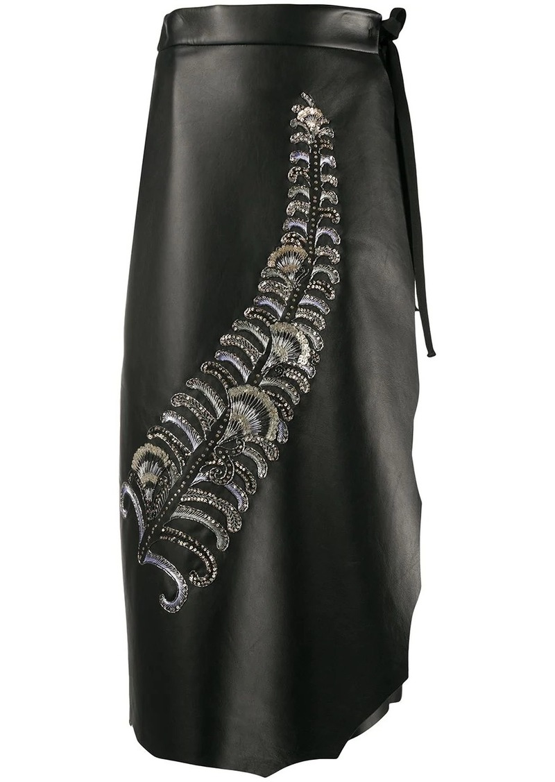 Prada sequin embroidered feather motif skirt
